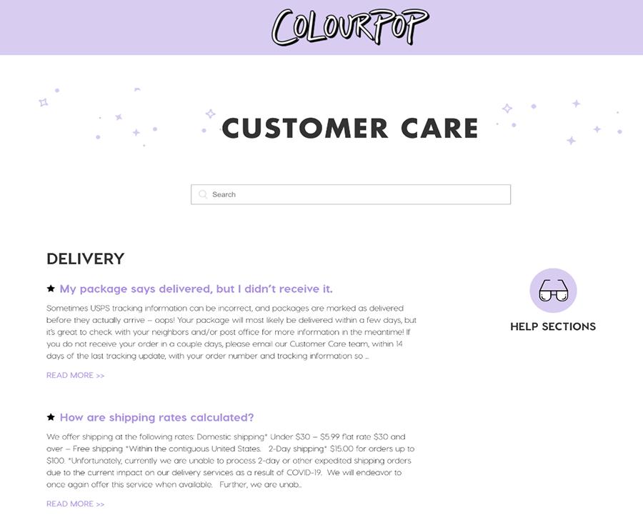 Colourpop Cosmetics F.A.Q. page