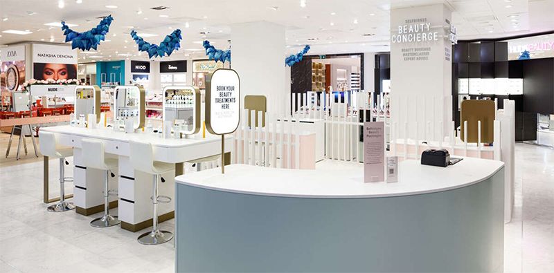 cosmetics hall inside of a department store