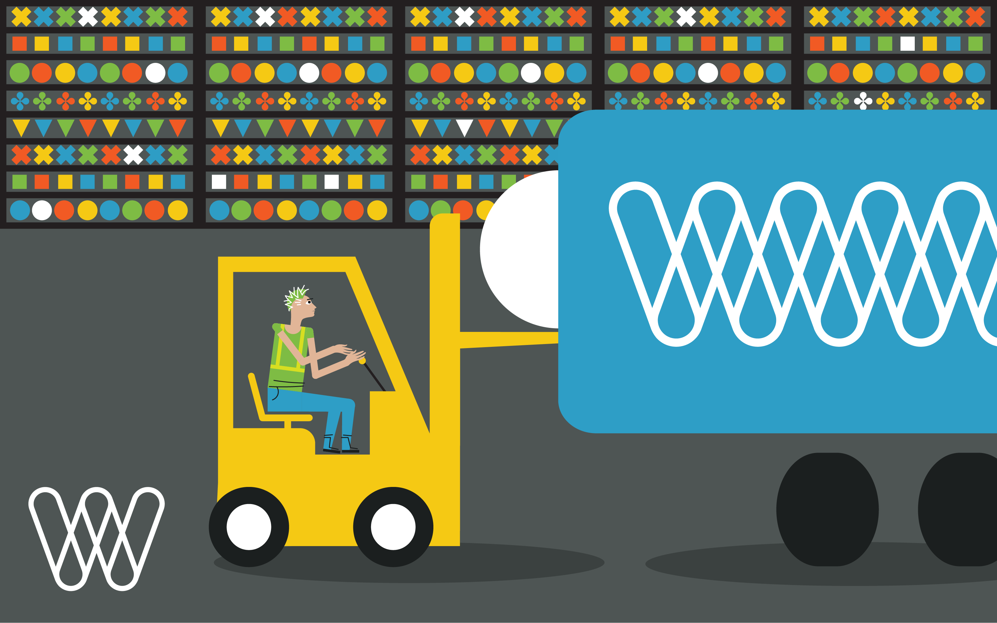 illustration of a person using a forklift in a warehouse