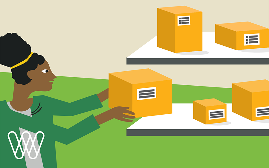 illustration of a customer taking product boxes from a shelf