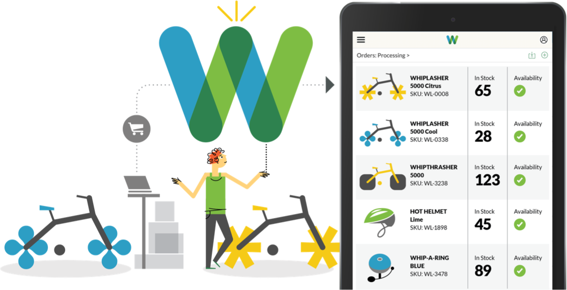 illustration of a woman with bikes and the whiplash w logo next to a smartphone with the whiplash app on the screen