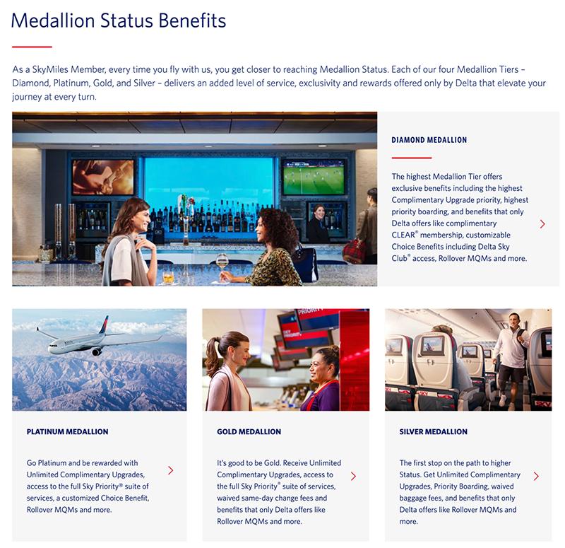 A screenshot explaining the  member benefits of Delta's SkyMiles program