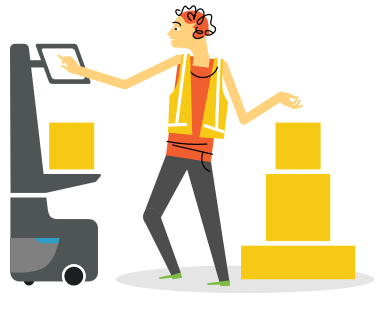 illustration of a person working with a locusbot