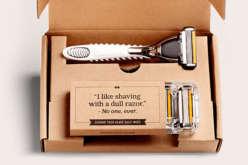 packaging for Dollar Shave Club products