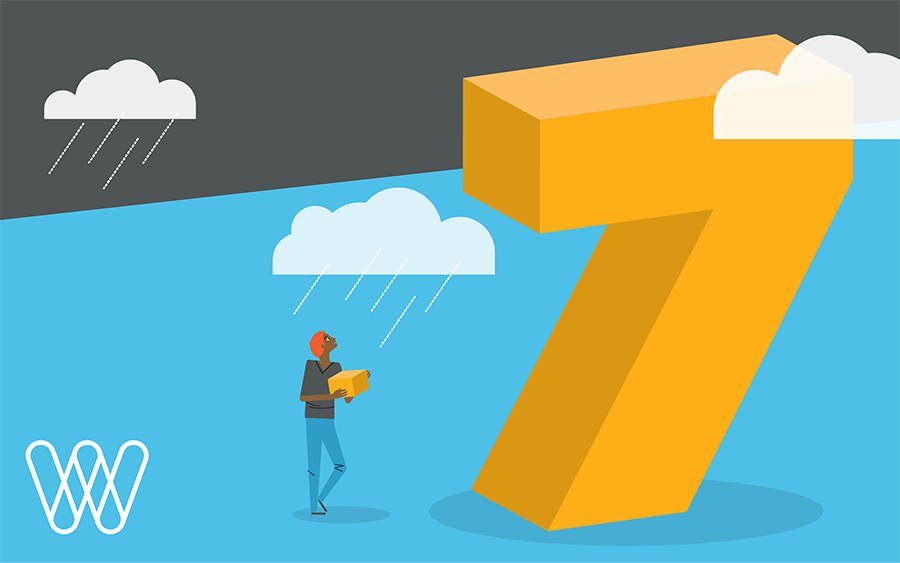 illustration of a person holding a box with rainclouds and a giant number seven