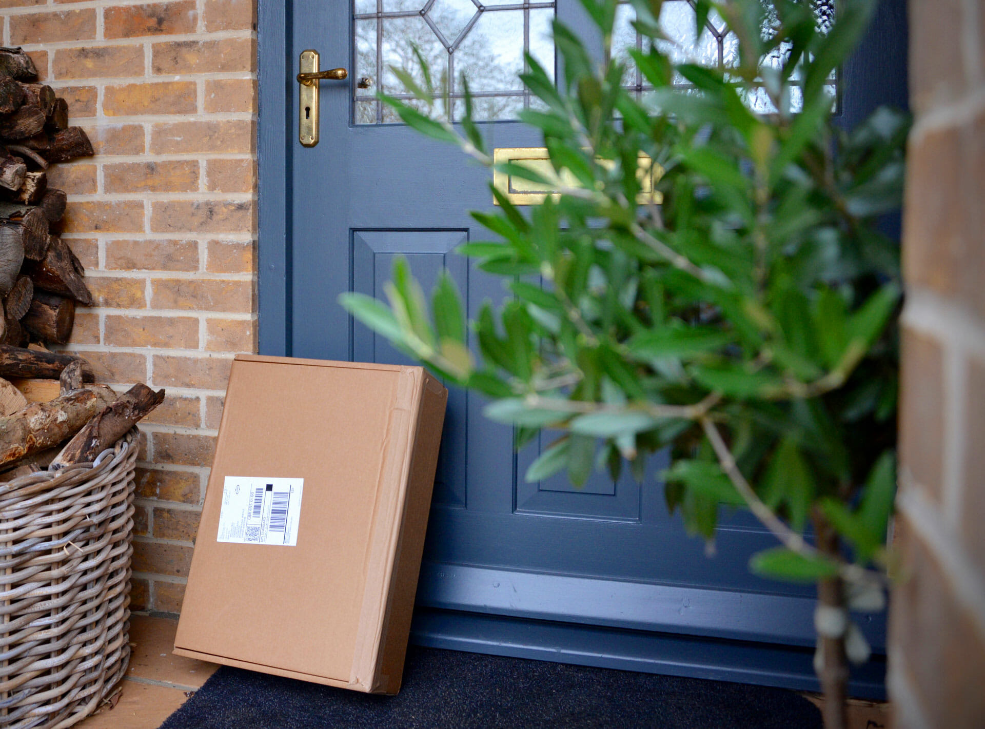 Package upright leaning against the front door of a house