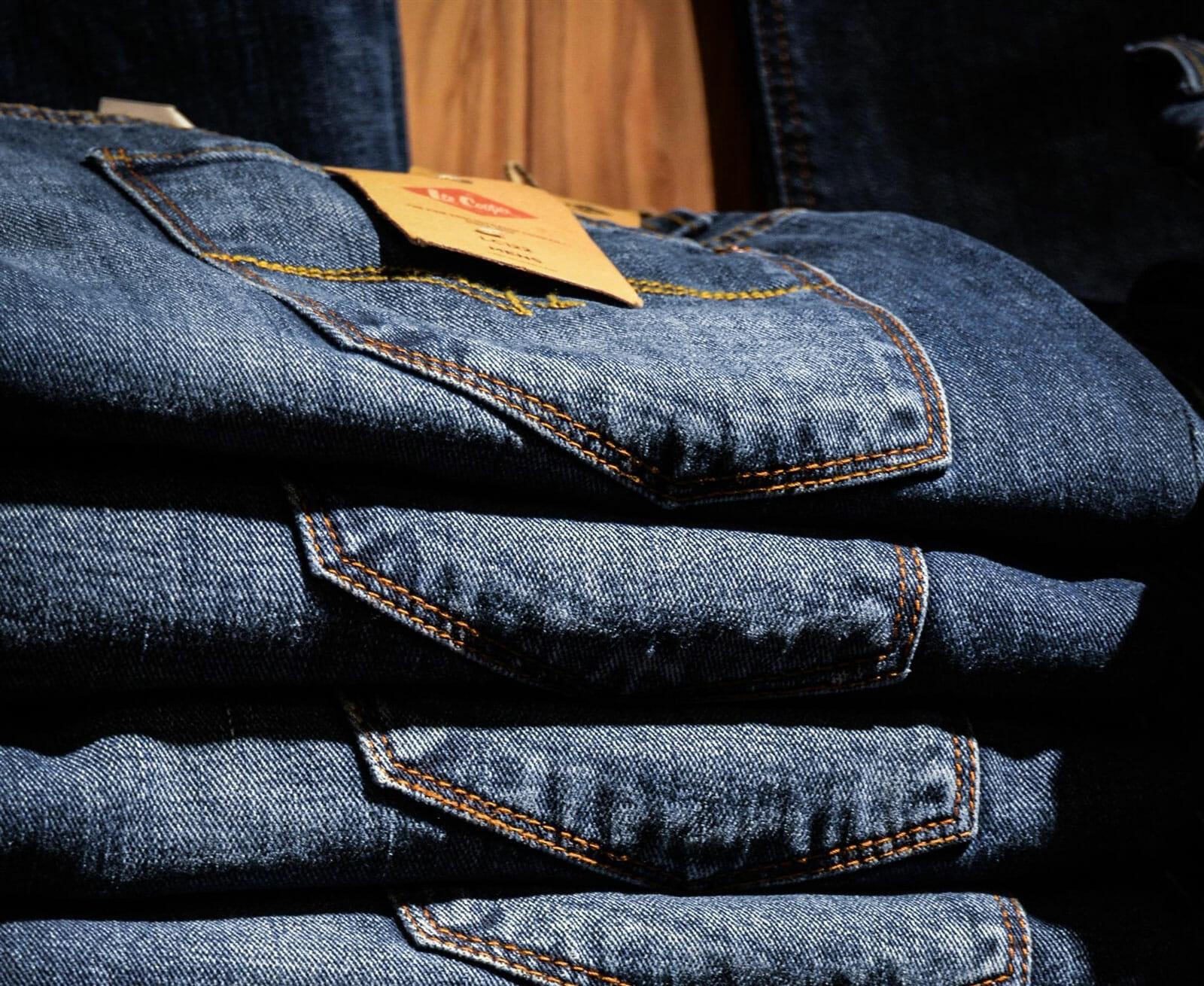 Stack of folded denim jeans