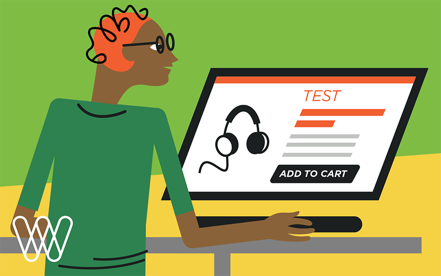 illustration of a person placing a test order on the computer