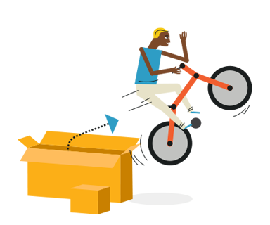 illustration of a person on a bike jumping out of a shipping box