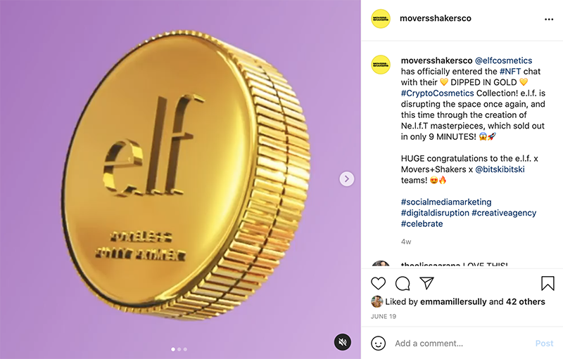 tweet about e.l.f.'s cryptocostmetics campaign