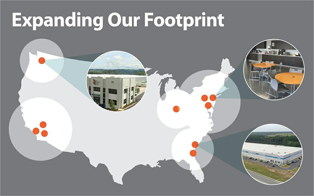 Map showing PLG's facilities in Seattle, LA/Long Beach, Savannah, Jacksonville, Columbus, New York, and New Jersey with 'Expanding our footprint' in text