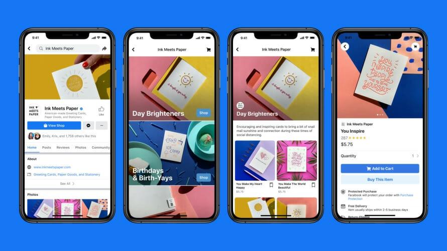 screenshots of facebook shops on mobile