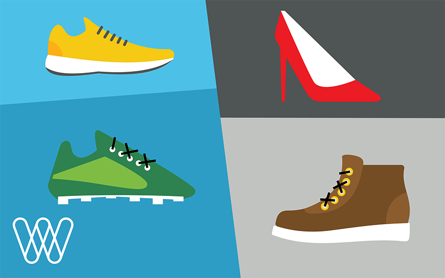 illustration of footwear: a running shoe, a high heel shoe, a soccer cleat, and a boot