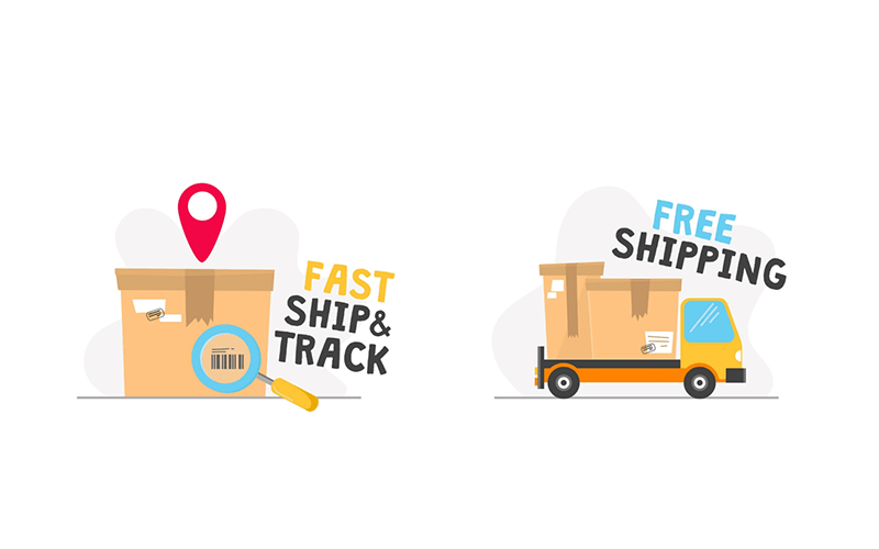 illustration of a shipping box with a location marker and magnifying glass with the text 'fast ship and track'. next to it is a shipping truck with the text 'free shipping'.