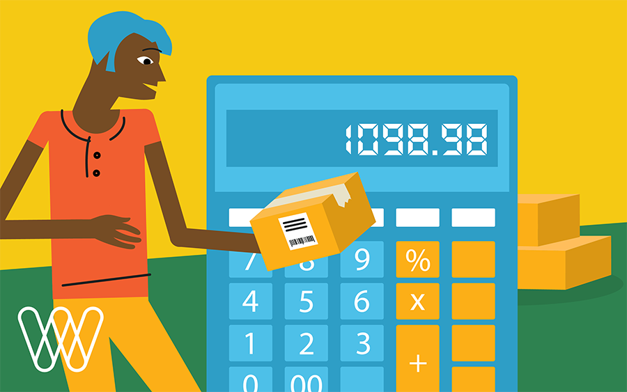 illustration of a person holding a package with a calculator in the background