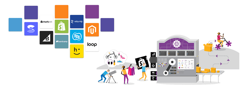 Illustration of people interacting with packages on a machine and conveyor belt representing the ecommerce fulfillment process. to the left are icons for integration partners: bigcommerce, shopify, loop, happy returns, magento, reutrnly, bandcamp, and sps.