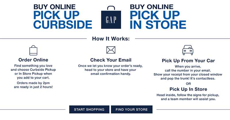 Gap's buy online pickup in store instructions page