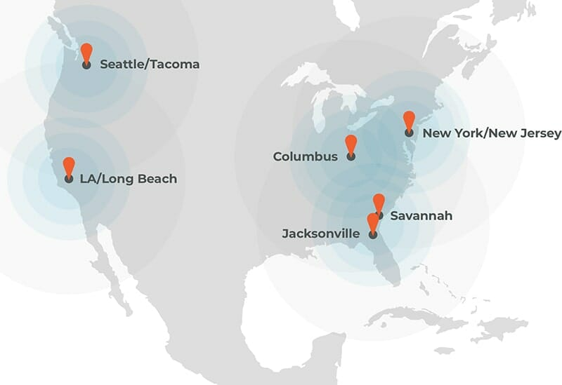 map of the us with port logistics group ports highlighted in california, washington, ohio, new jersey and georgia