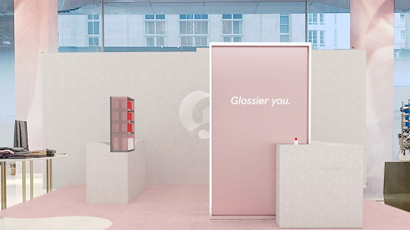 a glossier pop-up store inside of a nordstrom
