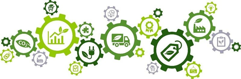 green gear cogs with icons representing carbon-neutral, sustainable operations