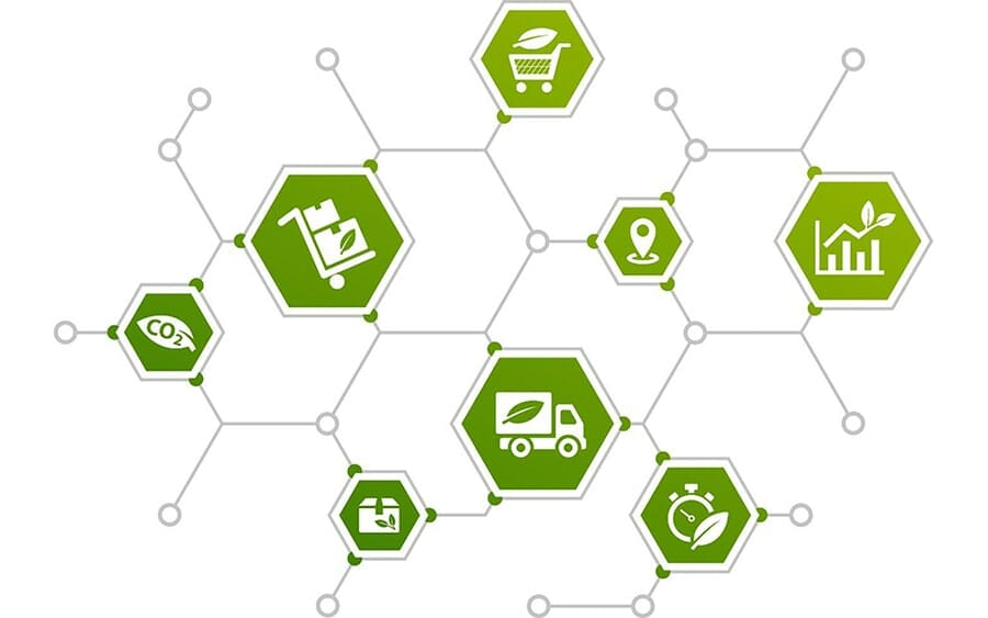 green hexagons connected with lines and circles with eco-friendly icons inside: shipping box, truck, co2, graph, location marker, shopping cart.