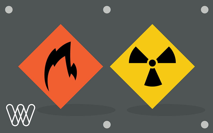 illustration of two signs: hazardous materials and flammable