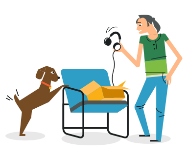 illustration of a person holding headphones and talking to their dog