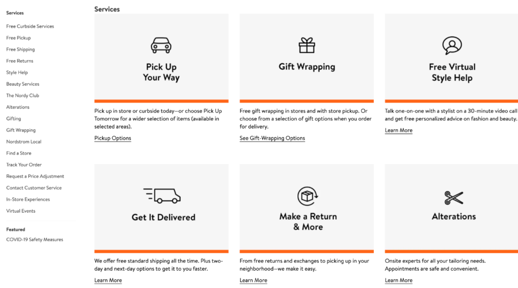 screenshot of Nordstrom's online knowledge center