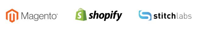 magento, shopfiy, and stitchlabs logos