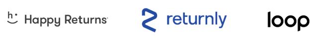 happy returns, returnly, and loop logos