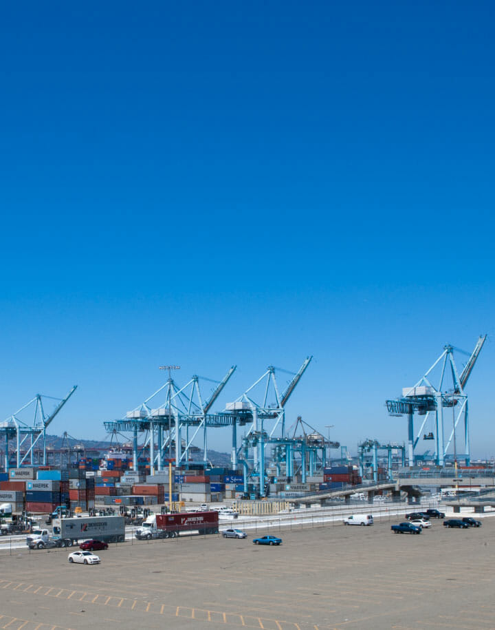 View of a shipping port with cargo handling equipment