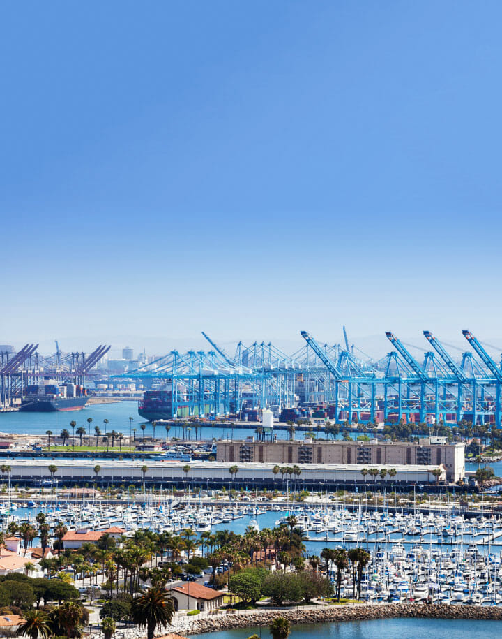 Landscape of an LA port with boats and shipping machinery