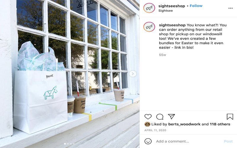 screenshot of an instagram post showing the store pickup for a local shop