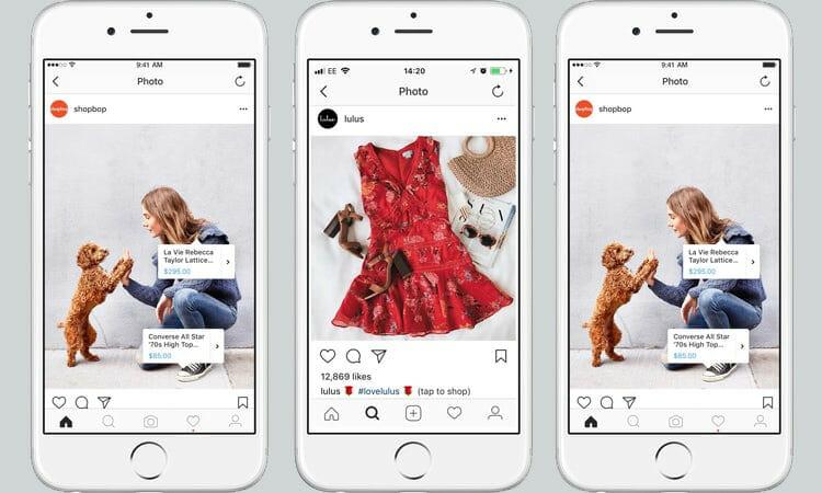 screenshots of instagram shopping on mobile