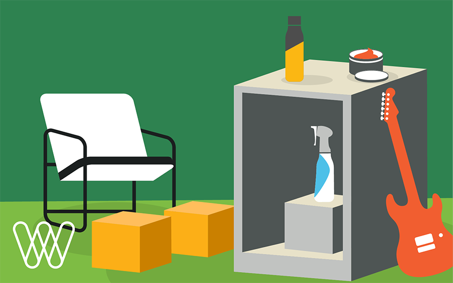 illustration of a chair next to shipping boxes, a water bottle, hair gel, a spray bottle and a guitar