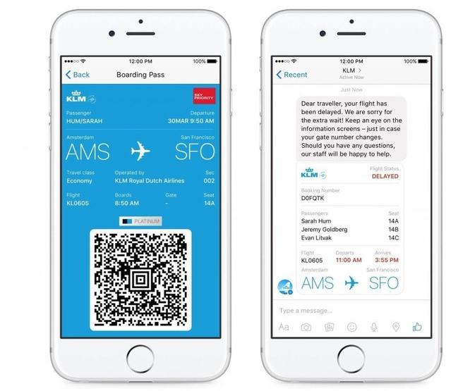 KLM mobile chatbot screenshot