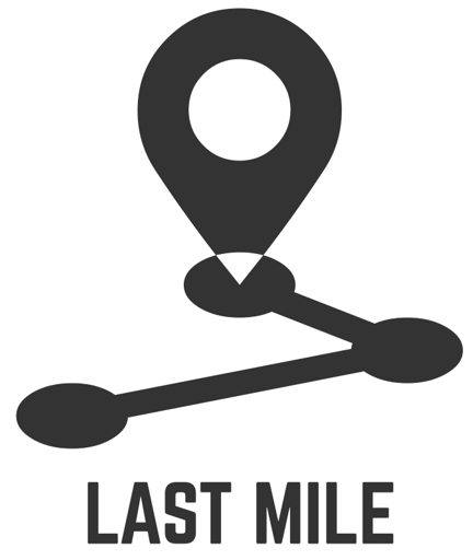 a location marker showing the distance between three points with 'last mile' written below