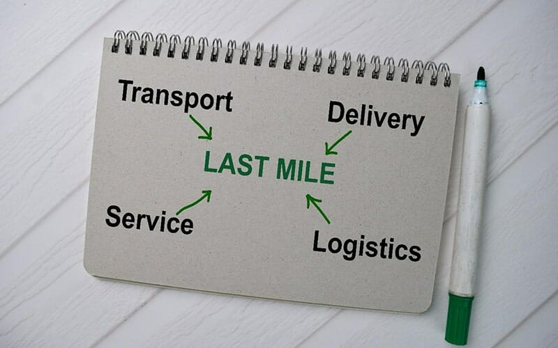 a notebook with a diagram written in it: the words 'transport, 'delivery', 'service' and 'logistics' with arrows pointing to 'last mile' in the middle of them.