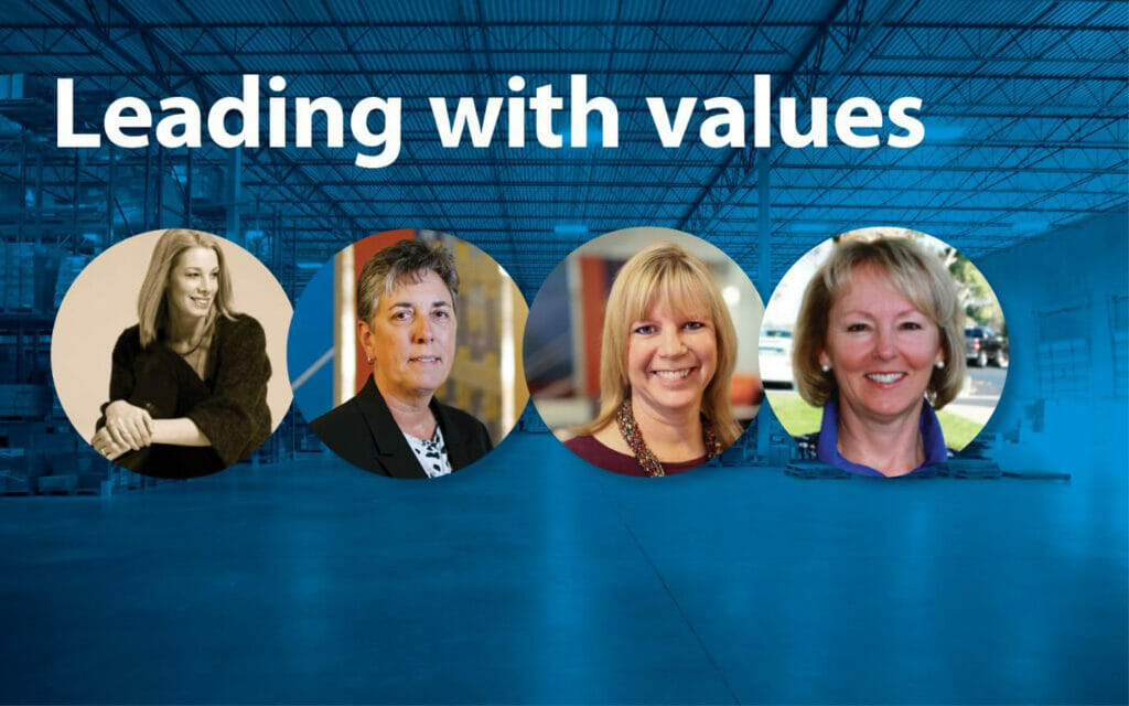photos of eva dicecco, janise kring, sarah drazetic, and val gart with the text 'leading with values'