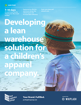case study cover: 'developing a lean warehouse solution for a children's apparel company'.