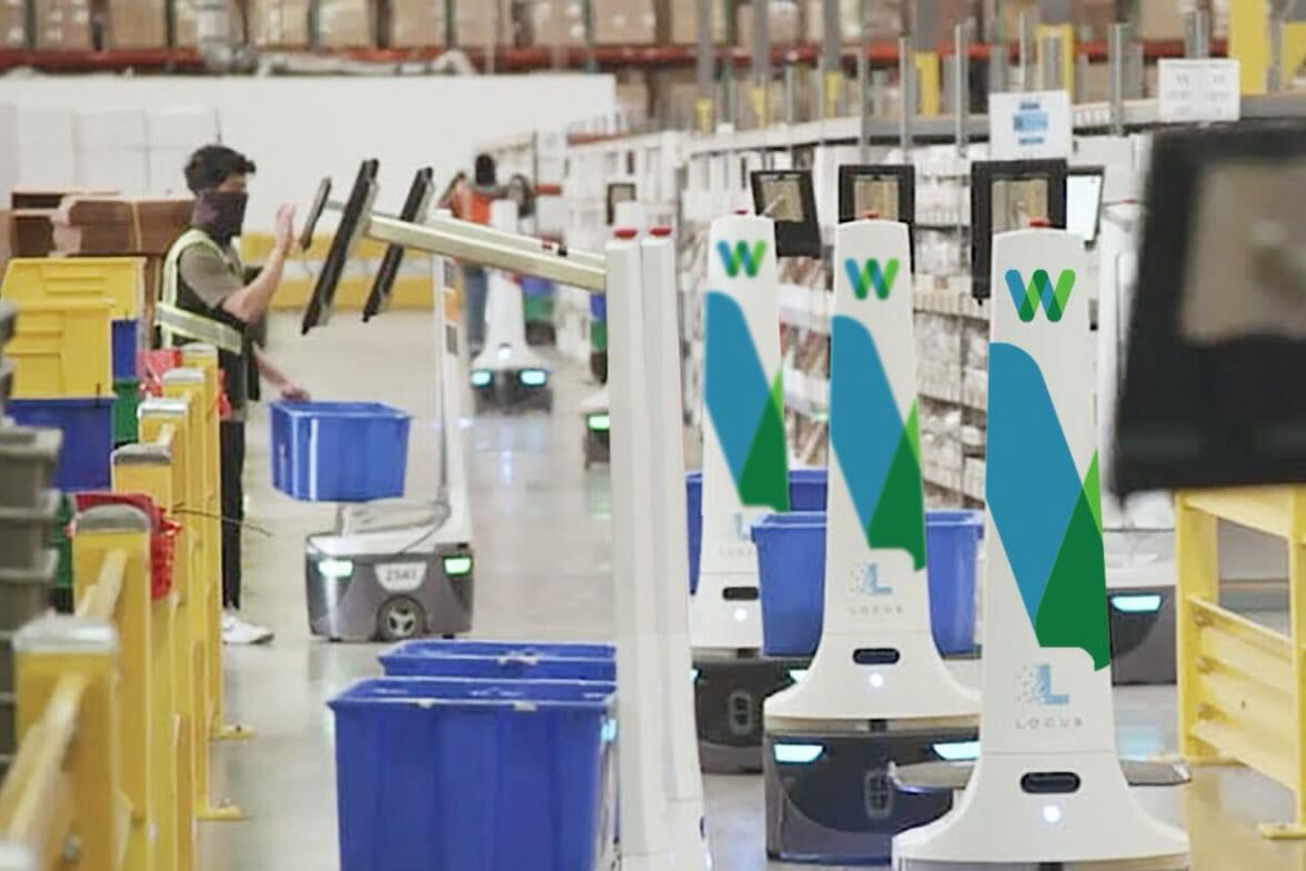 locusbots working in a warehouse