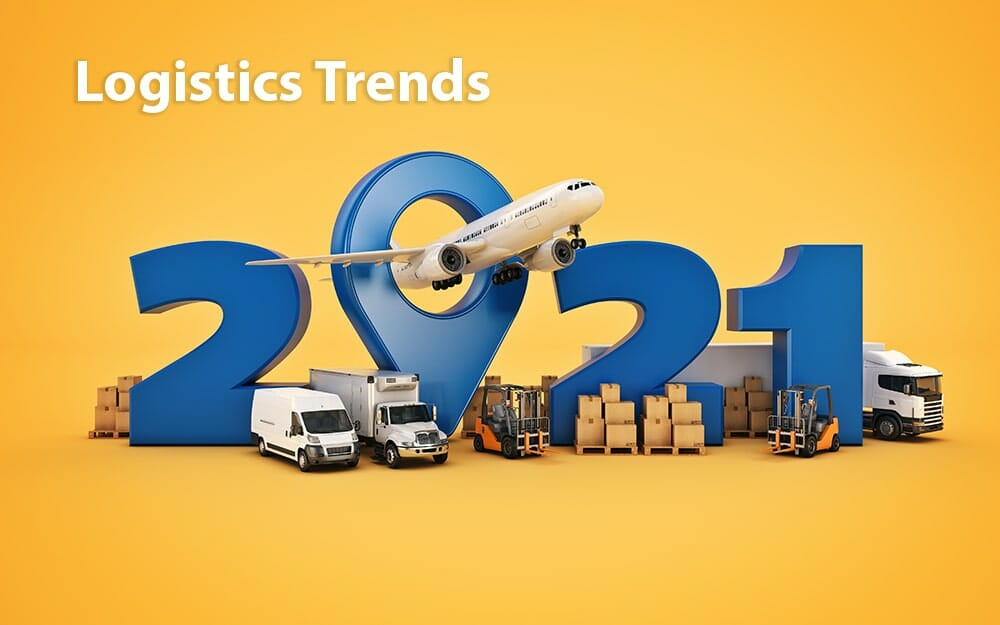 blue 2021 numbers with trucks, boxes, pallets, forklifts, and an airplane with 'logistics trends' in white letters at the top