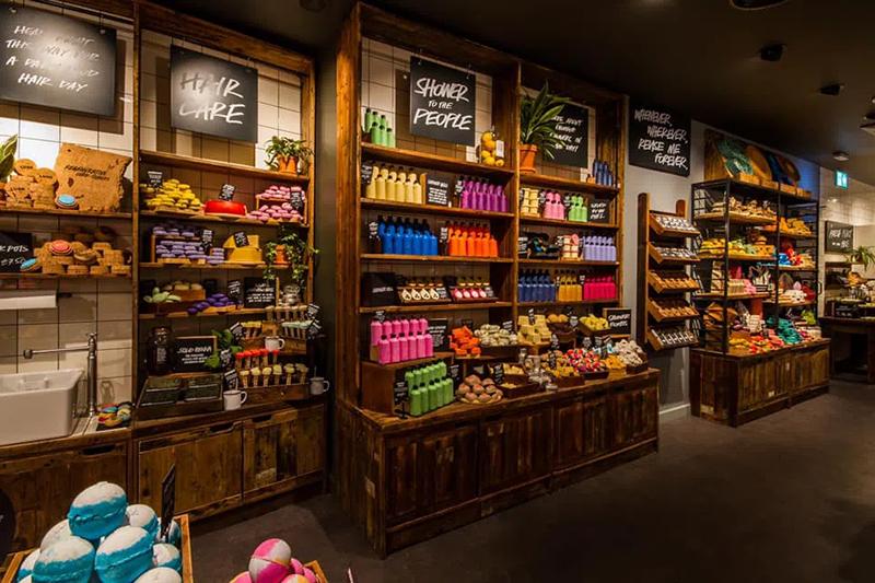 interior of lush cosmetics store