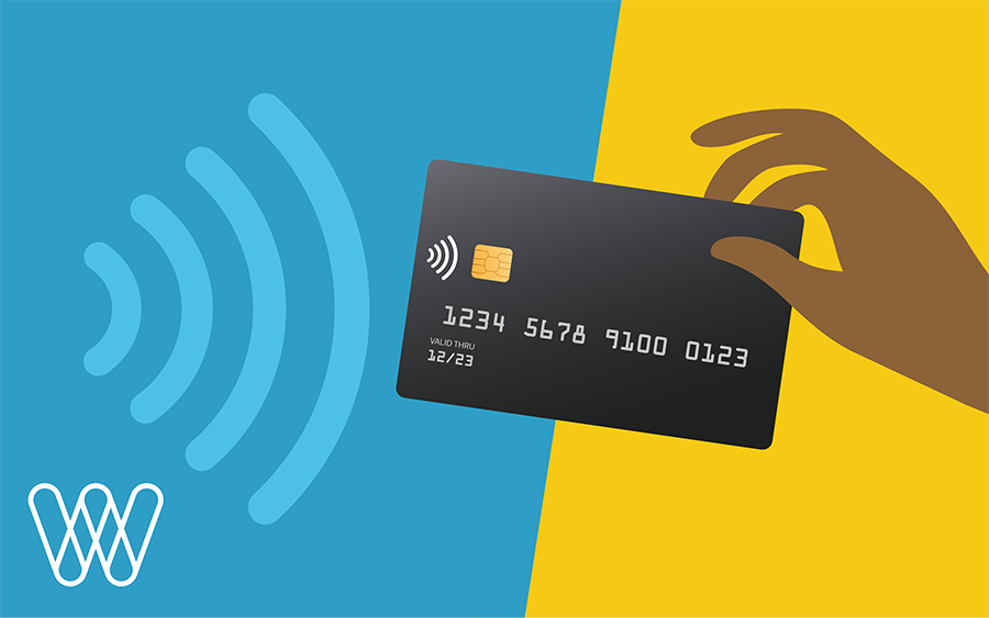 illustration of touchless tap payment being used with a credit card