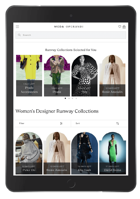 an ipad tablet on the moda operandi ecommerce mobile app