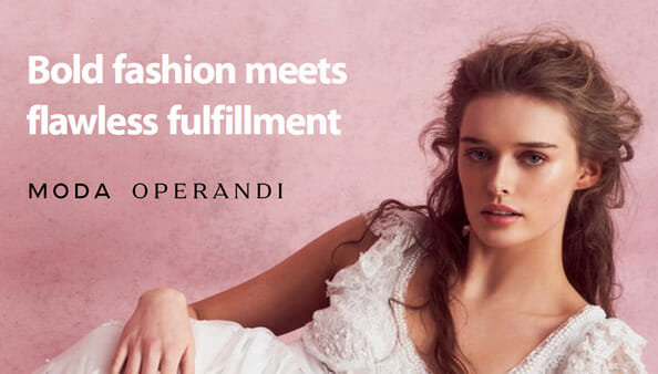 moda operandi model in a white dress with text: 'bold fashion meets flawless fulfillment'