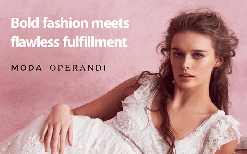 woman in a white Moda Operandi dress with the text 'bold fashion meets flawless fulfillment moda operandi'