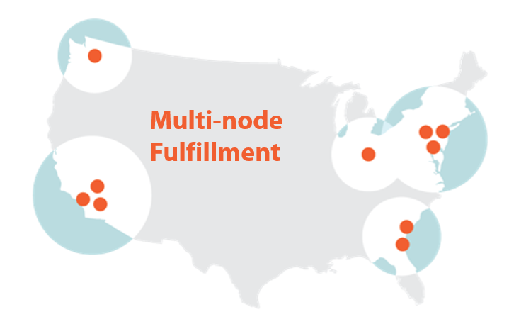Map of the United States with dots representing Port Logistics Group's ports and their ranges with the text 'Multi-node Fulfillment' on top