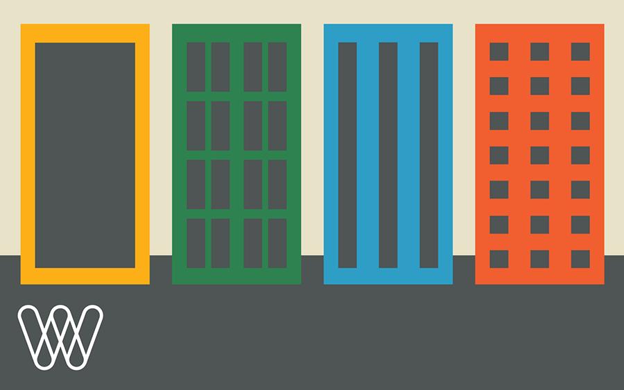 minimalist illustration of multicolored buildings on a street