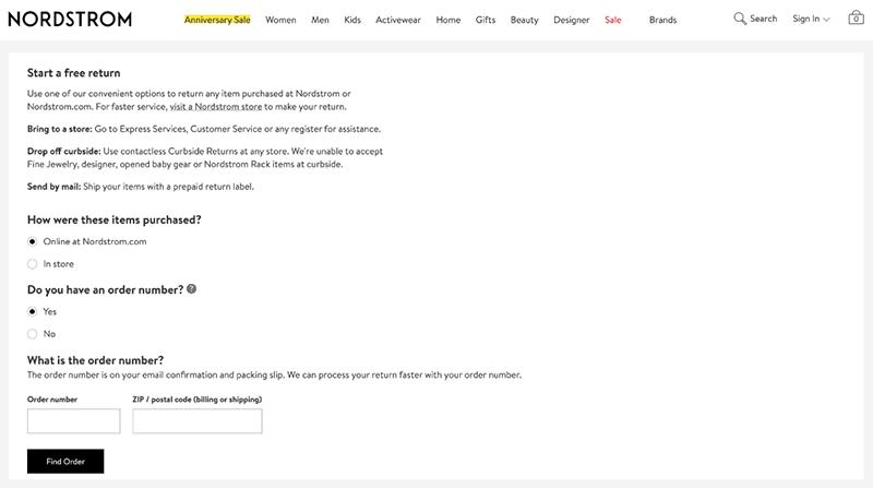 Nordstrom's returns portal page
